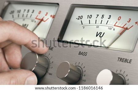Man turning volume button of a vintage analogic amplifier to increase sound volume. Composite image between a hand photography and a 3D background. #1186016146