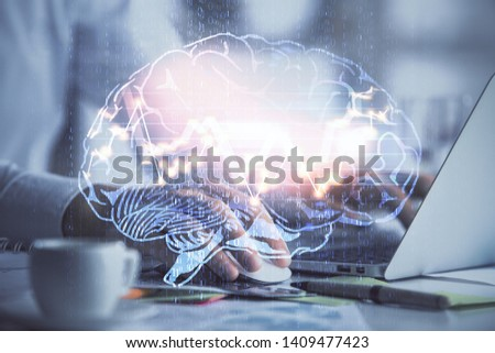 Man typing on keyboard background with brain hologram. Concept of big Data. #1409477423