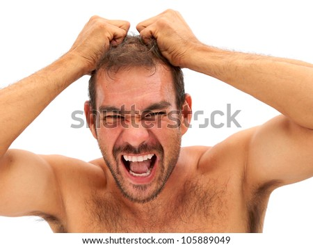man upset and pulling his hair on a white background