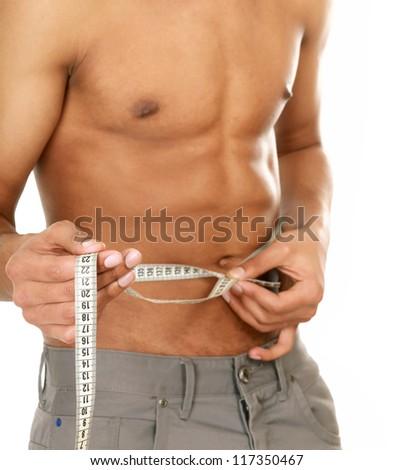 Man use measurement tape