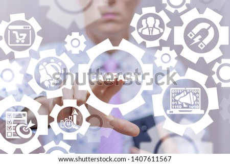 Man uses on a virtual screen of the future and touches the word: CAMPAIGN. Campaign Business Marketing Strategy concept. Company Advertising.