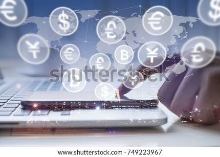 Man uses smart phone, laptop computer, world currencies, bitcoin wallet cryptocurrency on virtual screen, fintech financial technology, internet payment, money exchange, digital banking concept