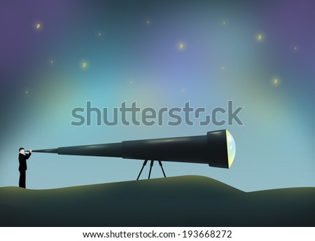 Man using a Long Telescope. Conceptual Illustration.