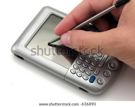 Man using a PDA with the stylus