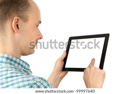 man using a tablet computer with white blank screen