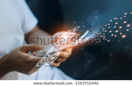 Man using mobile online banking and payment, Digital marketing. Finance and banking networking. Online shopping and icon customer network connection, cyber security. Business technology.