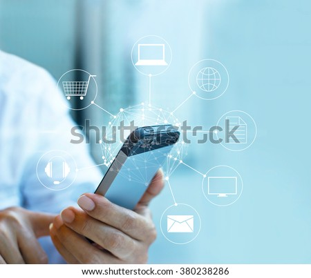 Man using mobile payments, holding circle global and icon customer network connection, Omni Channel