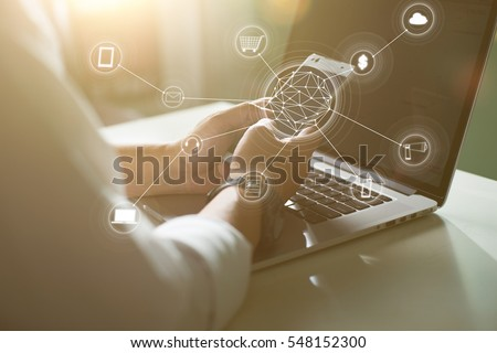 Man using mobile payments online shopping and icon customer network connection on screen.Blurred background .