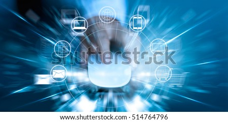 Man using mouse payments online shopping and icon customer network connection fast speed, m-banking and omni channel