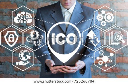 Man using smartphone with ICO (Initial Coin Offering) icon on a virtual screen. ICO Digital Electronic Trade Market Stock Index concept.