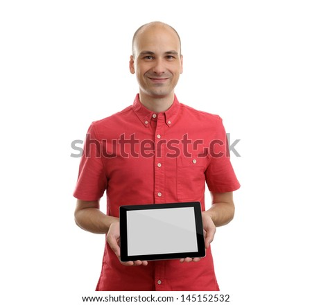 Man Using Tablet Computer isolated on white background