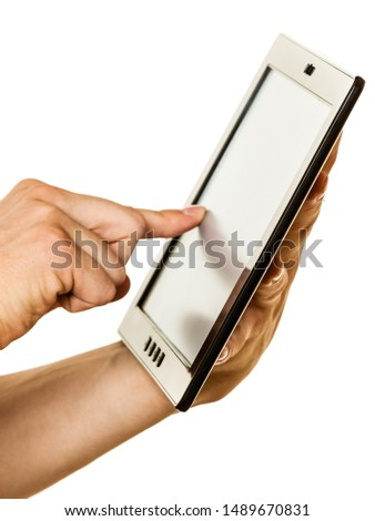Man using tablet pc computer, hands only. New technology and modern devices concept. #1489670831