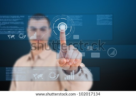 Man using technologies of the future