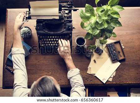 Man Using Typing Retro Typewriter Machine Work Writer