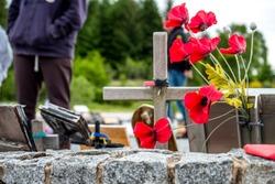 Man visiting the commando memorial in Spean bridge, Scotland