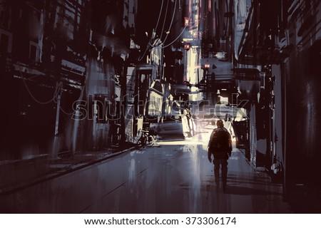 man walking alone in dark city,illustration painting
