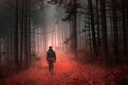 Man walking alone in magical dark orange red colored foggy wild forest landscape.