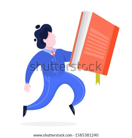 Man walking and holding a large book. Business education and knowledge. Student running. Manager with document.  illustration in cartoon style