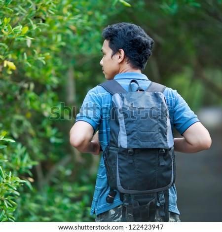 Man walking forest