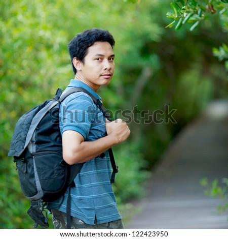 Man walking forest