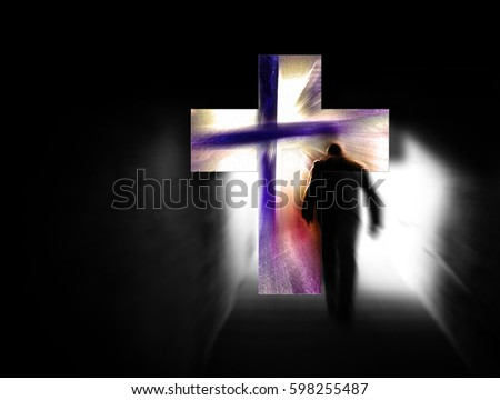 Man walking from the darkness towards the cross of light. Modern abstract artistic illustrations, concept of death, resurrection, Easter, burden and salvation.