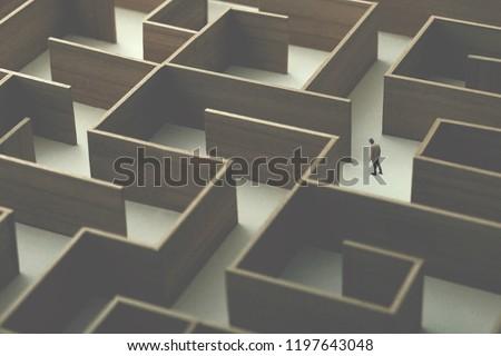 man walking in a big complex labyrinth, surreal concept