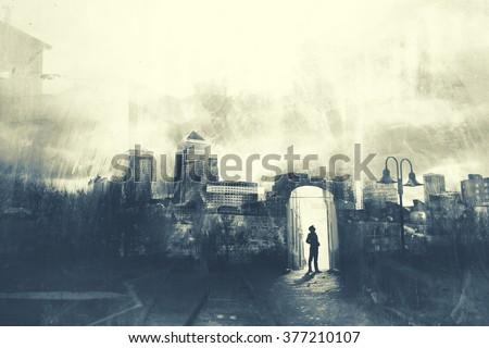 Man walking in a mystic dark city ストックフォト ©