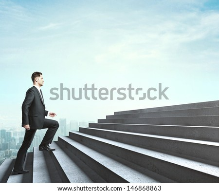 man walking near ladder in sky
