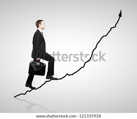 man walking on chart  on a white background