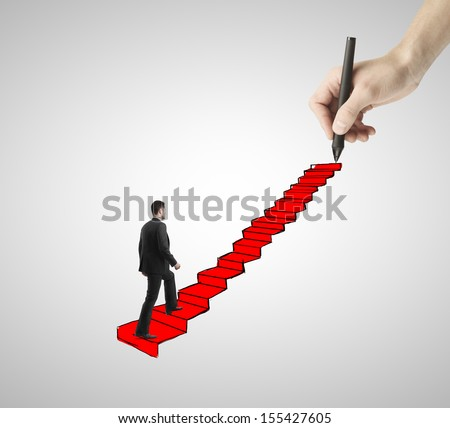 man walking on drawing ladder with red carpet