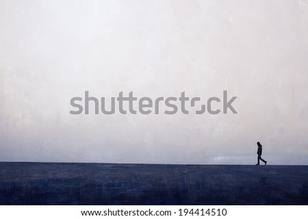 man walking on the horizon