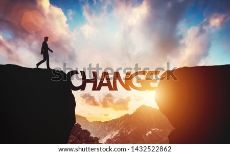 Man walking on the other side of mountain on change letters being a bridge. Concept of hope, positive decision. 3D illustration Photo stock ©