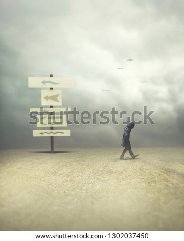 man walking opposite and contrary direction; surreal concept