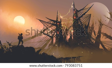 Stock Photo man walking to the spider web castles at sunset, digital art style, illustration painting