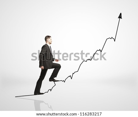 man walks on chart  on a white background