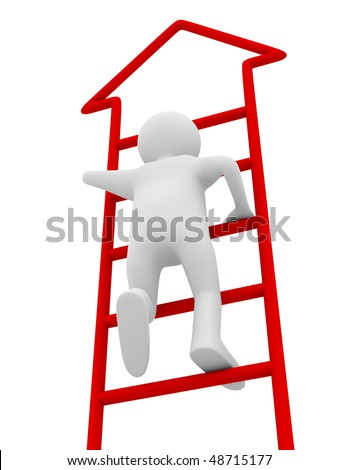 man walks upstairs on white background. Isolated 3D image
