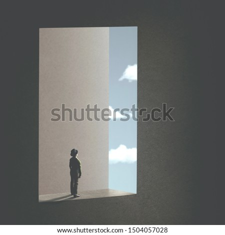 man watching the sky trought a surreal window; abstract concept