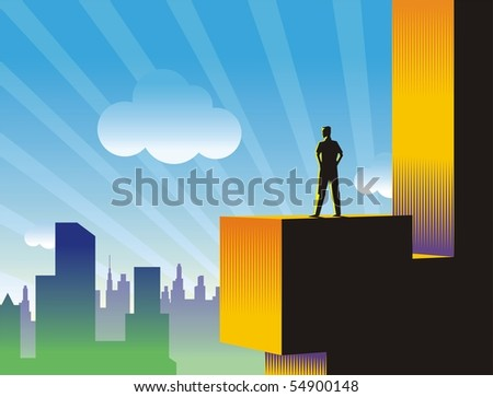 Man watching the sunrise in a city from the top of a building. Large format full resolution.