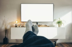 Man Watching TV in his living room, point of view perspective.