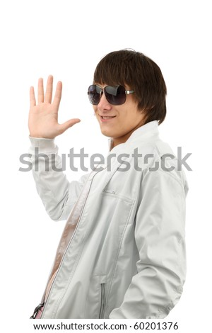 man wave goodbye isolated on the white