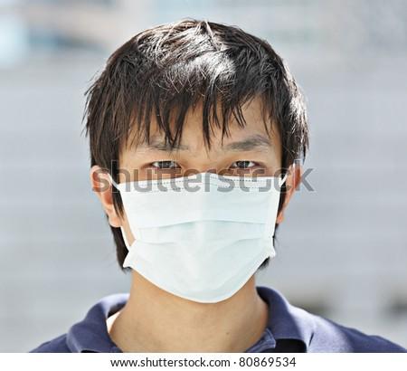 man wear mask - stock photo
