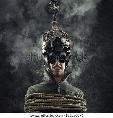 Man wearing a brain-control helmet, human brain-related experiments
