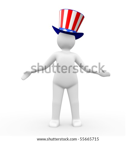 Man wearing a hat with american flag theme