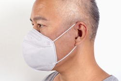 Man wearing a small dust mask, filter pm2.5 particles, Prevent spreading or coronavirus  2019, white version, and isolated on white background. Side view