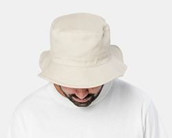 Man wearing bleached bucket hat, front view