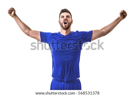 Man wearing blue uniform celebrates on white background #568531378