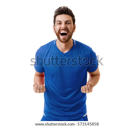 Man wearing blue uniform celebrates on white background #573145858