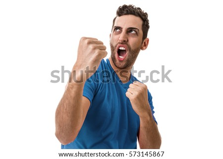 Man wearing blue uniform celebrates on white background #573145867