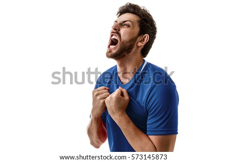 Man wearing blue uniform celebrates on white background #573145873