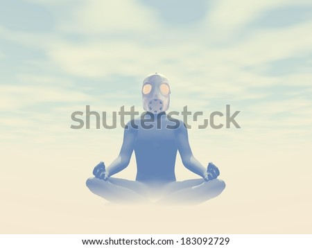 Man wearing gas mask meditating about pollution in foggy background #183092729